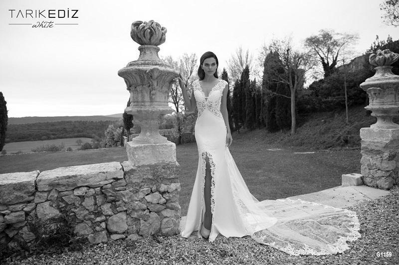 Wedding - 2015 Tarik Ediz Mermaid Wedding Dresses V-Neck High Split Lace Applique Sleeveless Bridal Gowns Sweep Train Garden Sexy Online with $129.95/Piece on Hjklp88's Store