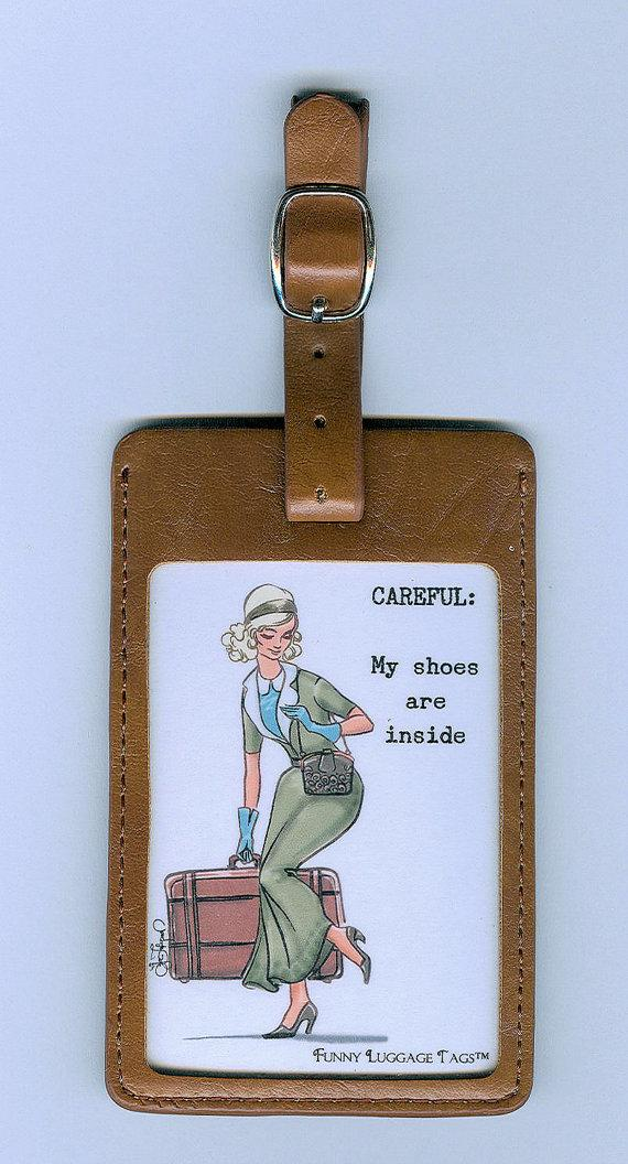 زفاف - GORGEOUS LEATHER Funny Luggage Tag - CAREFUL My shoes are inside