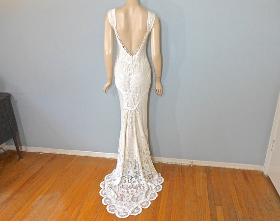 Vintage inspired wedding dress boho mermaid lace wedding for Unique bohemian wedding dresses