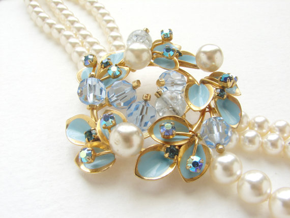 Mariage - Bridal jewelry, Bridal necklace, wedding jewelry vintage Tiffany blue brooch pearl necklace floral statement necklace
