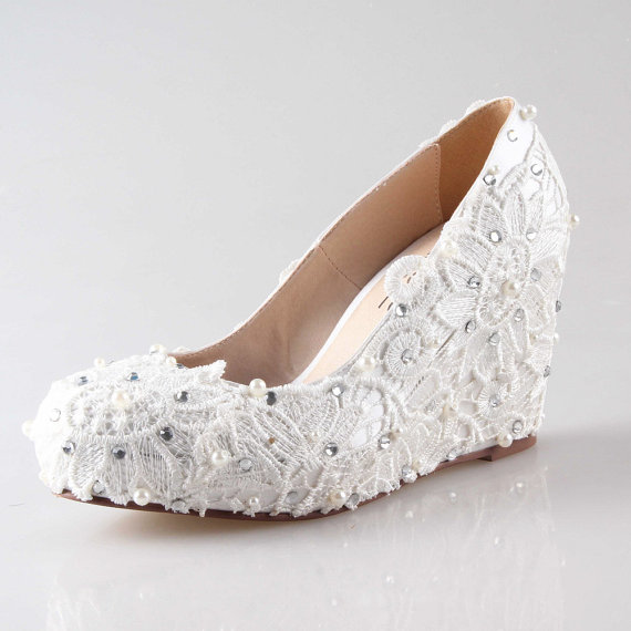 Ivory Lace Wedge Shoes For Outdoor Wedding Party Closed Toe Lace Shoes Pumps 2302862