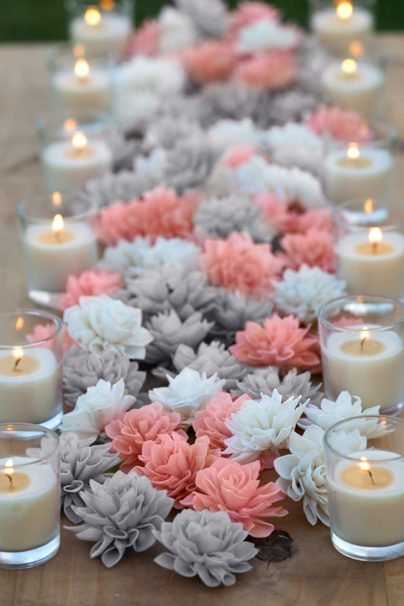 Coral and grey mixed wooden flowers wedding decorations - Flowers for table decorations ...