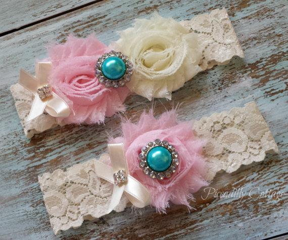 Mariage - Pink Wedding Garter / CUSTOMIZE IT / Bridal Garter / Turquoise Pearl Center / Lace Garter Set / Toss Garter Included