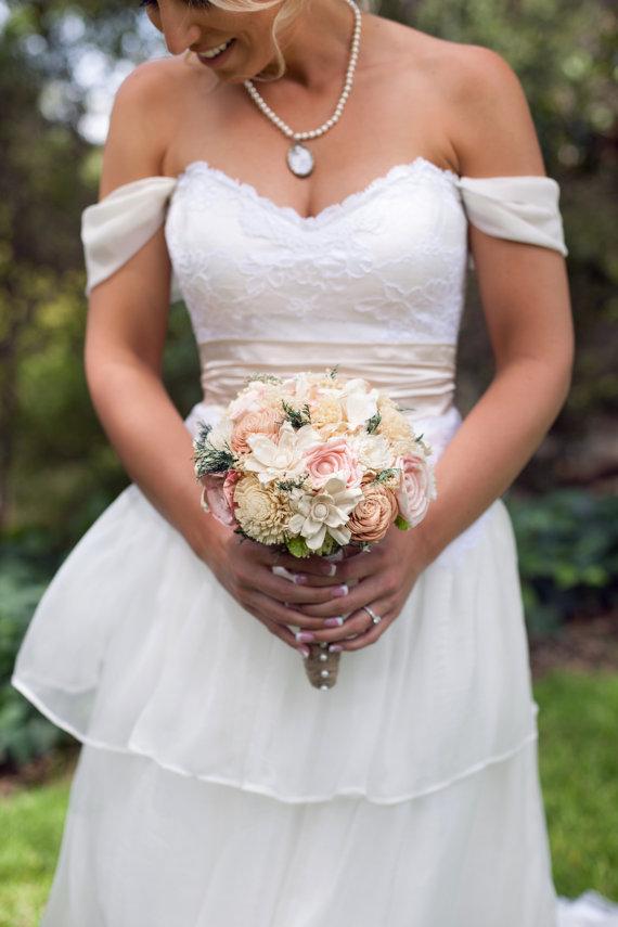 Mariage - Romantic Wedding Bouquet -Natural Bridal Bouquet, Keepsake Alternative Bouquet, Sola Bouquet, Shabby Chic Rustic Wedding