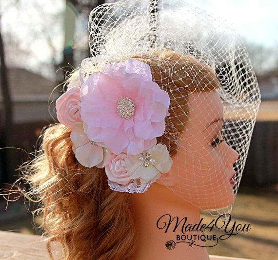 Mariage - Blush Ivory Birdcage Veil-Blush Bridal Fascinator-Wedding Headpiece