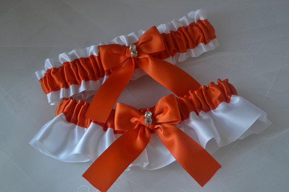 Mariage - Wedding Garter, Garter Set, Torrid Orange With White Satin, Garter Belts, Bridal Garter Set, Garters