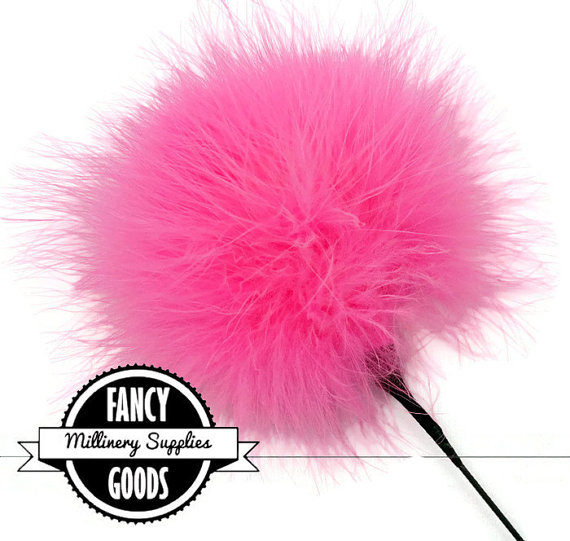Mariage - 1 - Hot Pink - Marabou - Ostrich Feather Pick - Pom Pom - Poof - Millinery Feather - Bouquet Pick