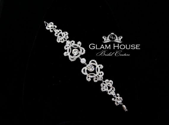 Mariage - Crystal Bridal bracelet,Vintage inspired filigree, Bridal Jewelry,heart bracelet,silver filigree,filigree bracelet,vintage bracelet,bracelet