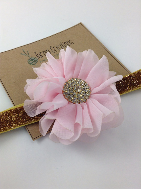زفاف - Pink & Gold Headband Ballerina Flower Headband Glitter Wedding Flower Girl Headband Pretty in Pink M2M Persnickety