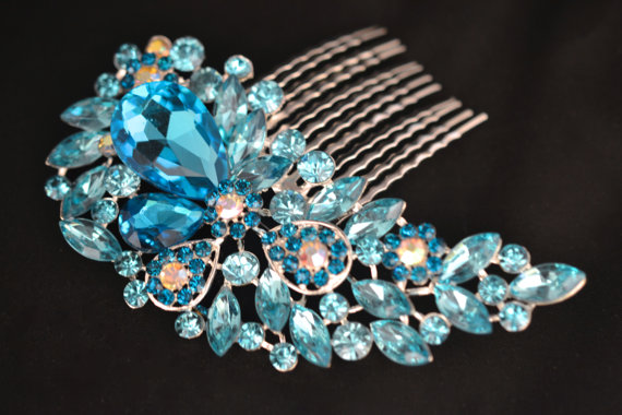 Свадьба - Vintage Style Silver Blue Diamante Crystal Hair Comb Fascinator Slides Wedding