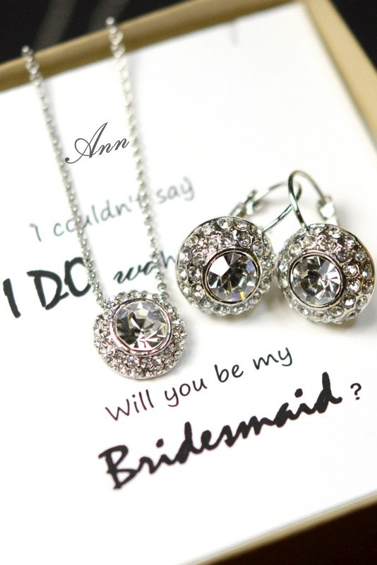 Mariage - Bridesmaid gifts ,Wedding Jewelry Bridesmaid Jewelry Bridal Necklace Bridesmaid Necklace Clear Crystal drop Necklace silver crystal earring