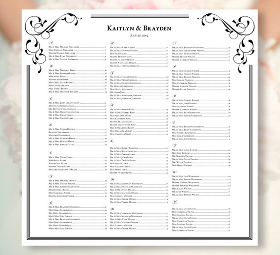 "Printable Seating Chart For Wedding Reception: Wedding Seating Chart ""Elegance"" Black & White Template"