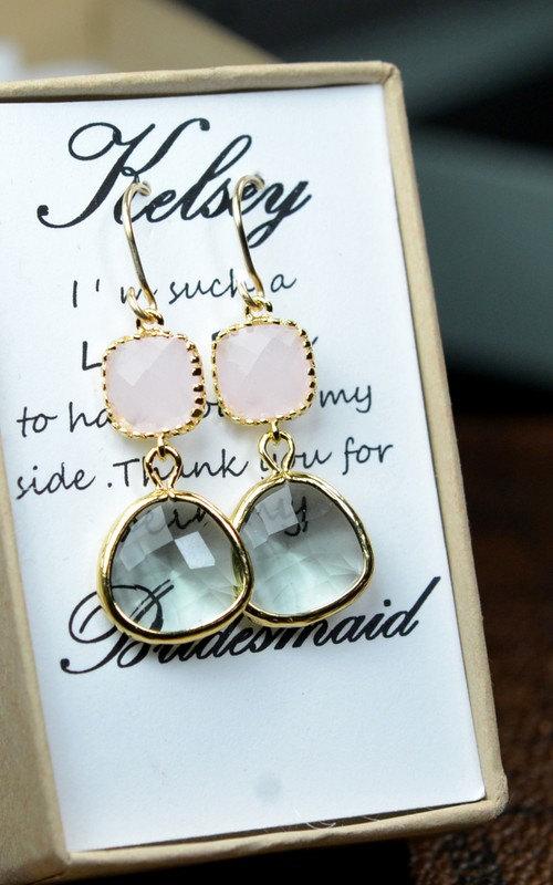 Mariage - Pink gray -Bridesmaid Jewelry Bridesmaid Wedding Bridal Jewelry -Bridesmaid gifts, Gold Pink charcoal gray wedding jewelry EARRINGS