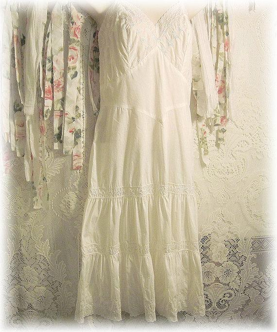 Hochzeit - Vintage Full Embroidered Slip - Satin Roses - Full Ruffled Slip