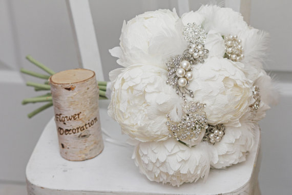 Mariage - brooch bouquet, bridal bouquet, wedding bouquet, bridesmaid bouquet, paper flower bouquet, peonies bouquet, white paper bouquet