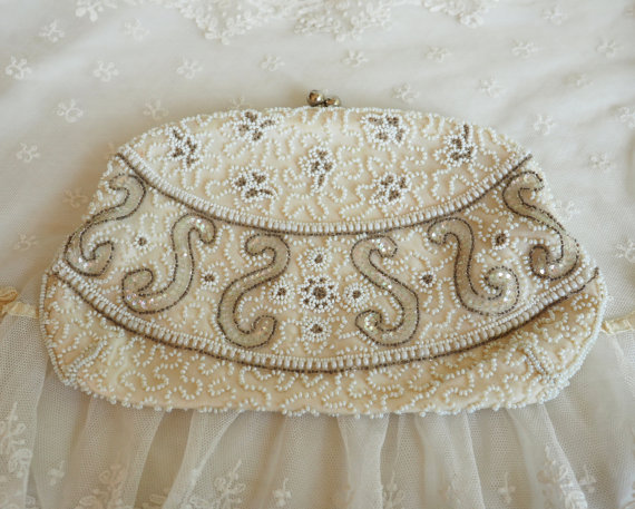 Mariage - Vintage Beaded Wedding Evening Bag - Retro Formal Clutch Bridal Purse - Pearl Seed Beads & Sequins - Hand Made in Belguim
