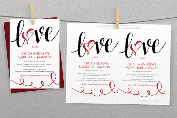 DiY Wedding Invitation Template   Download Instantly   EDITABLE TEXT   Love  Script (Black U0026 Red)   Microsoft® Word Format