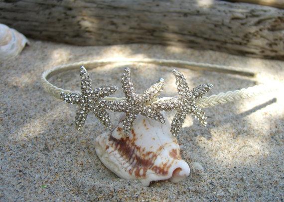 Свадьба - Starfish Headband-CHOOSE COLOR-Beach Wedding, Bridal Headband, Flower Girl, Mermaids, Destination Wedding, Nautical, Starfish Hair Accessory