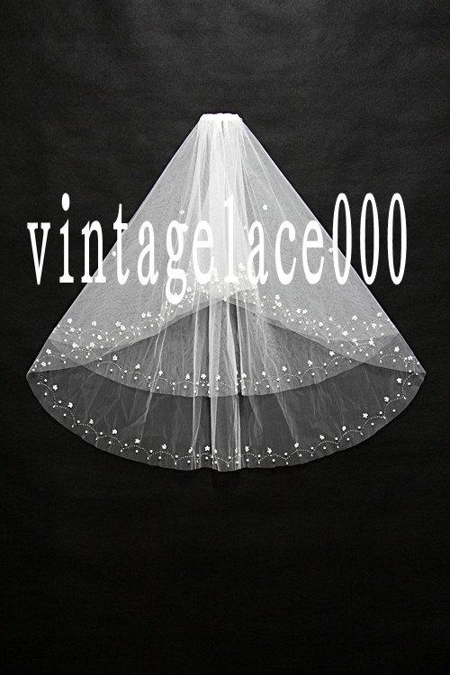 Mariage - Ivory bridal veil beading  2 Tier veil with comb Wedding veil bridal
