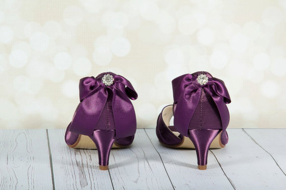 Purple Wedding Shoes - Purple Bows - Crystal - Peep Toe - Bridal ...