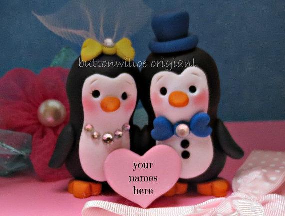 Свадьба - Happy Handmade Personalized Penguin Wedding Cake Topper