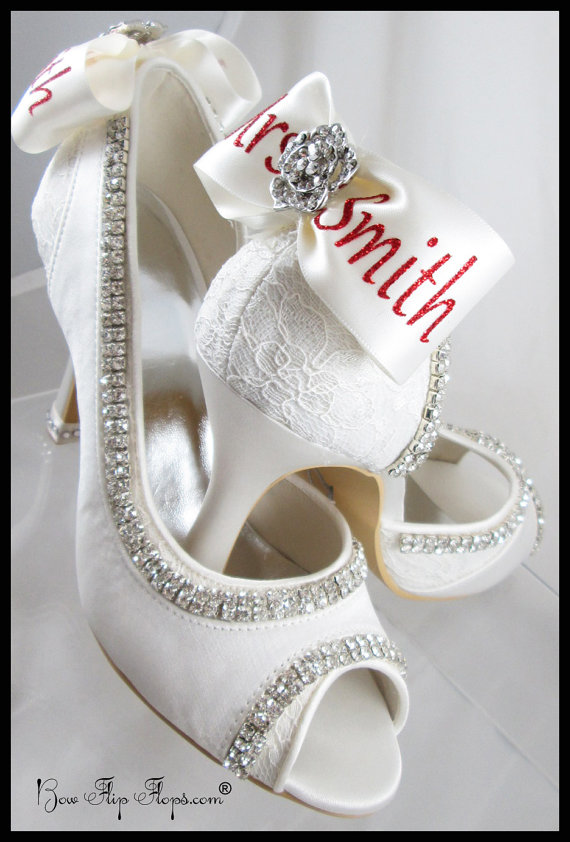 Свадьба - Mrs New Last name Personalized Bridal Heels Wedding Ivory Bridal Rose Flower Shoes 3.5 inch Peep Toe Satin Bow Rhinestone Bling Pumps Bride