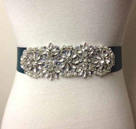 Rhinestone sash teal sash pearl sash bride sash applique for Pearl belt for wedding dress