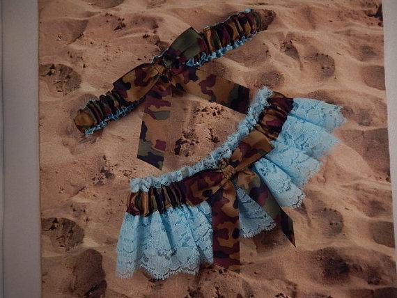 Mariage - Camo Camouflage Satin Light Blue Double Lace Wedding Garter Set Toss