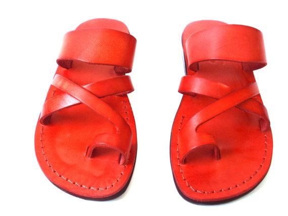 زفاف - SALE ! New Leather Sandals ROMAN Women's Shoes Thongs Flip Flops Flats Slides Slippers Biblical Bridal Wedding Colored Footwear Designer