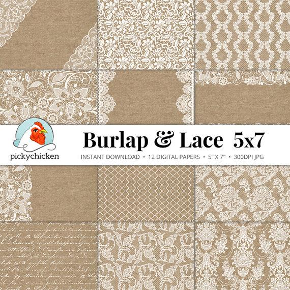 burlap lace digital paper 5x7 burlap lace rustic wedding invitation template country shabby. Black Bedroom Furniture Sets. Home Design Ideas