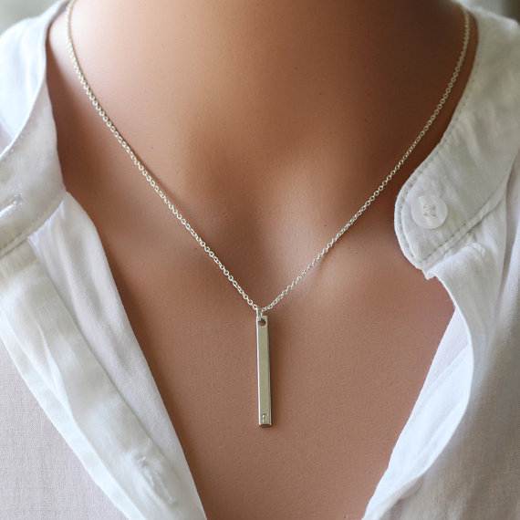 Mariage - silver long bar initial necklace, Personalized hand stamped initial bridesmaid gifts, everyday, birthday, wedding jewelry, gift for her
