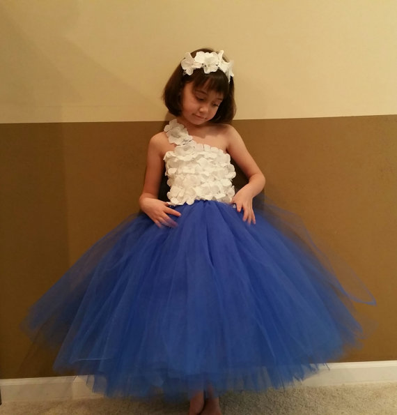 Royal Blue White Flower Girl Dress Junior Bridesmaids Dress