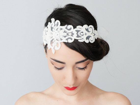 Wedding - Solinas // Bridal Headband/ Bridal Headpiece/ Lace Headband/ Retro Headband/ Wedding Accessories/ Bridal Accessories/ Lace Headpiece