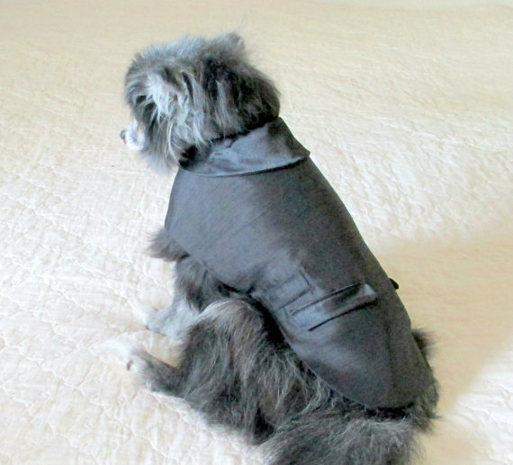 Свадьба - Custom Tuxedo for Little Dogs Small Dog Clothing Pet Clothes - Black Polyester Shantung with Satin Collar and Pocket Flaps - Chihuahua Sizes