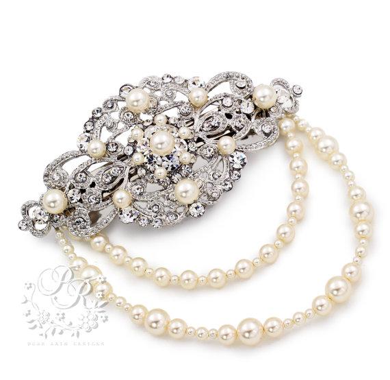 Mariage - Wedding Barrette Hair Clip Swarovski Pearl Rhinestone Hair Clip Bridal Barrette hair accessory Wedding Jewelry Wedding Accessory Ribbon