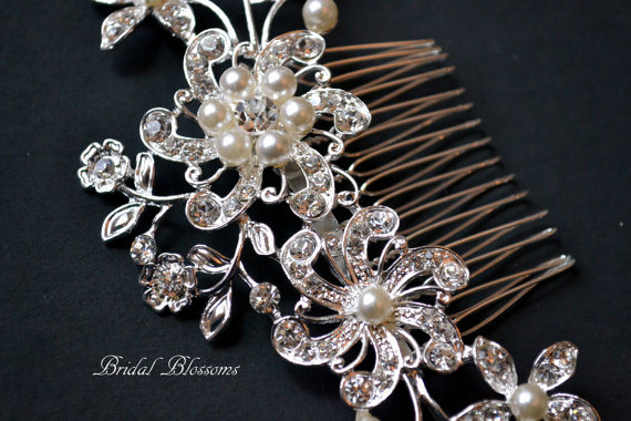 Mariage - BEST SELLER - Rhinestone Pearl Bridal Hair Comb