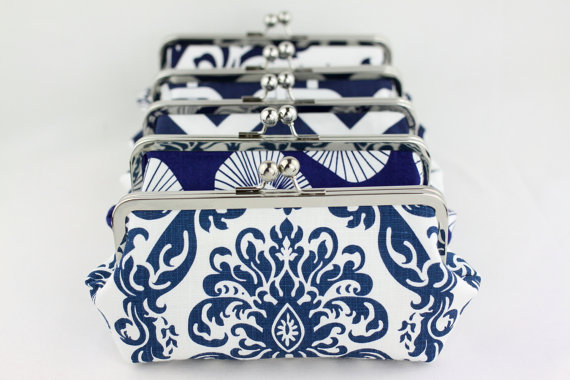 Mariage - Wedding Clutches / Bridesmaid Clutches Choose your Fabric Navy - Set of 6