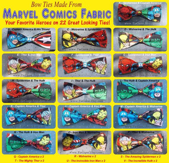 Свадьба - BowTies Made From Marvel Comics Fabric - Take Your Pick From 22 Great Looking SEWN-BY-HAND Hero Bow Ties - 1.49 Shipping