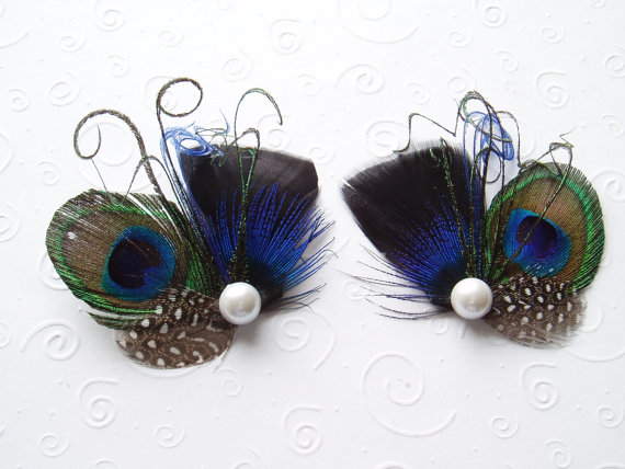 Mariage - Peacock Feather Shoe Clips BLUE BLACK Wedding Accessories Shoeclips Rhinestone Crystal