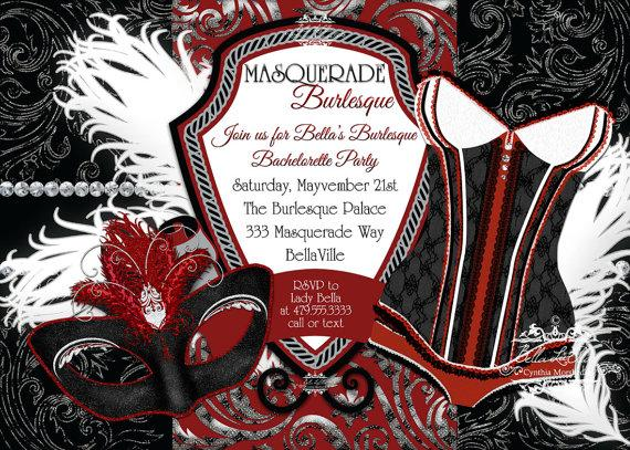 masquerade bachelorette party invitation bachelorette party masquerade invitations burlesque masquerade