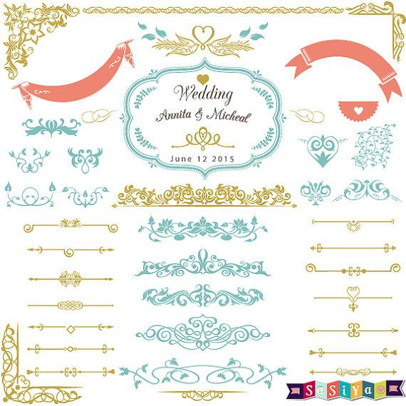 Wedding - INSTANT DOWNLOAD Vintage Wedding Digital Flourish Swirl Border Frame Ornate Clip Art Scrapbooking Embellishment  WS320-1 Buy 1 Get 1 Free