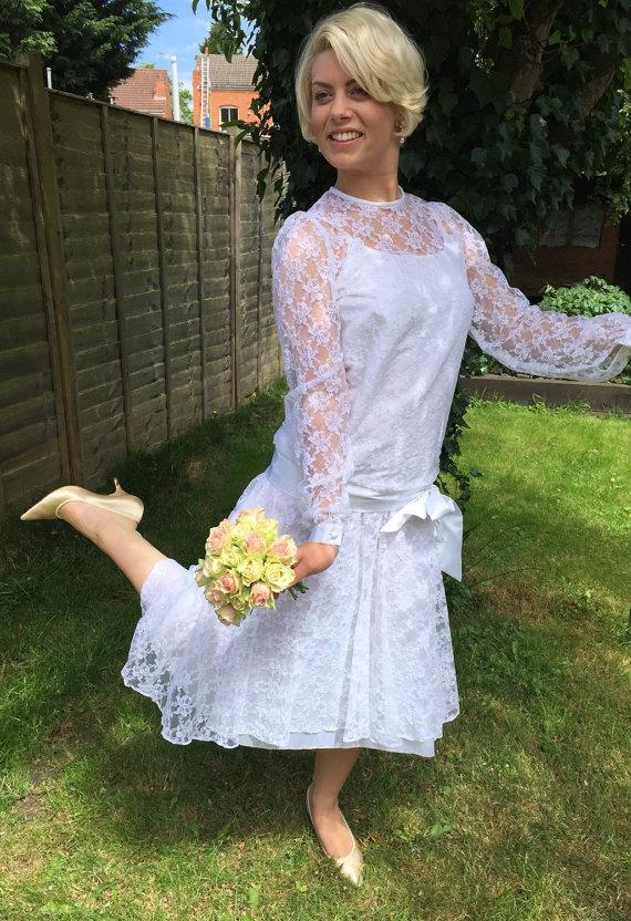 bb730a2414 1920s style vintage lace wedding dress white 1980s drop waisted Pronuptia bridal  gown