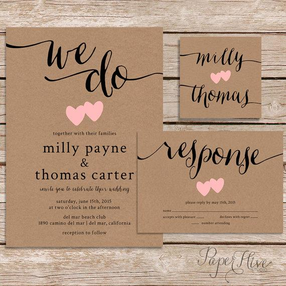 rustic wedding invitation / kraft paper wedding invite set, Wedding invitations