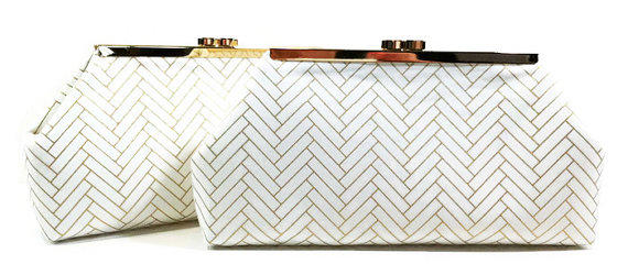 Mariage - Gold and White Bridesmaid Clutches, Bridal Clutch, Wedding Clutch - Clasp Clutch Purses Set of 4 Metallic Gold