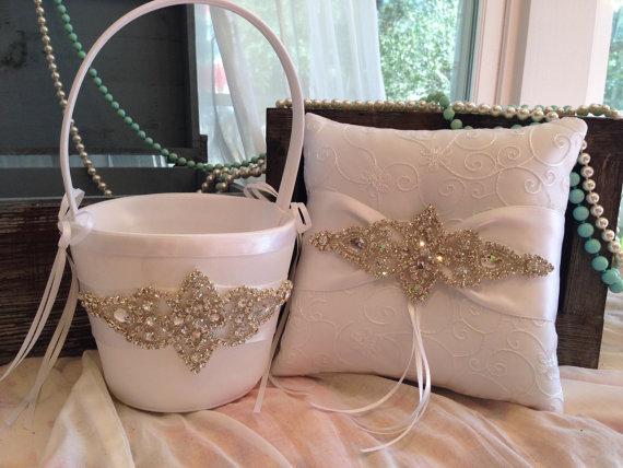 زفاف - SALE-Flower Girl Basket-Ivory-White-Ring Bearer Pillow-Pillow-Basket-Ring-Wedding Basket-Pillow-Ivory Wedding Basket-Ivory-Pillow and Basket