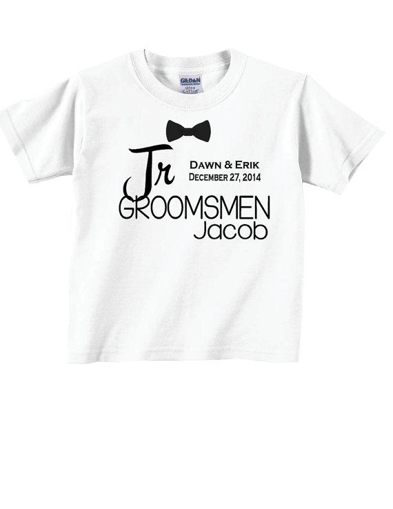 زفاف - Junior Groomsmen Shirts with Dates and Bowtie for Wedding Party Tees