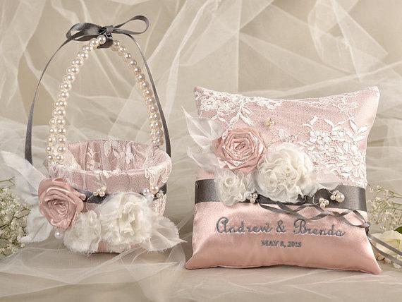 flower girl basket ring bearer pillow set peach satin nad cream lace embriodery names. Black Bedroom Furniture Sets. Home Design Ideas