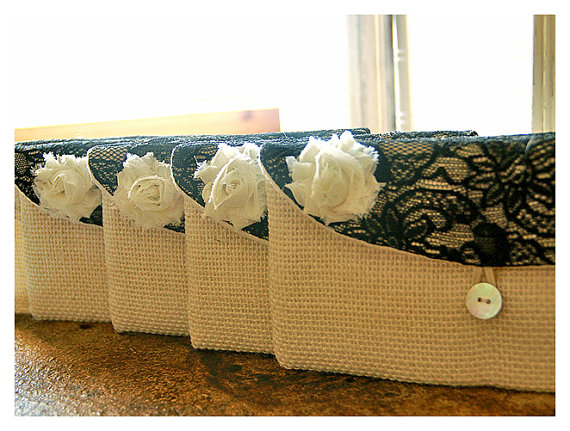 زفاف - Personalize Bridesmaid gift burlap clutch purse bag black lace bridesmaid clutch wedding clutch bridal clutch cosmetic MakeUp Set 3 4 5 6