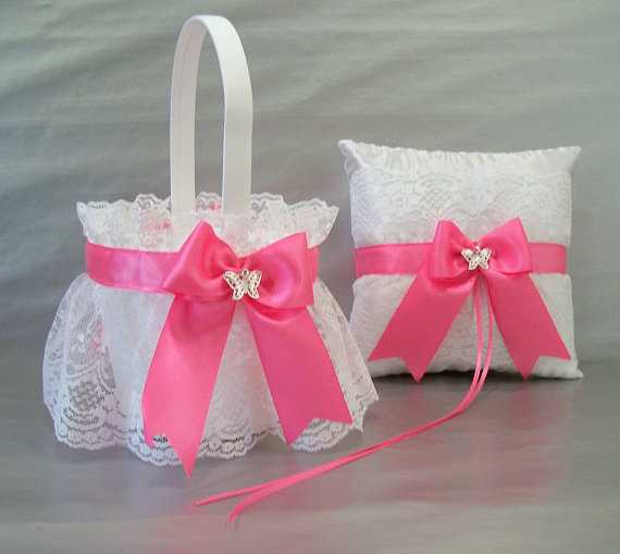 Hot pink trimmed wedding bridal flower girl basket and ring bearer hot pink trimmed wedding bridal flower girl basket and ring bearer pillow set on white or ivory satin lace with bow and butterfly charm mightylinksfo Images