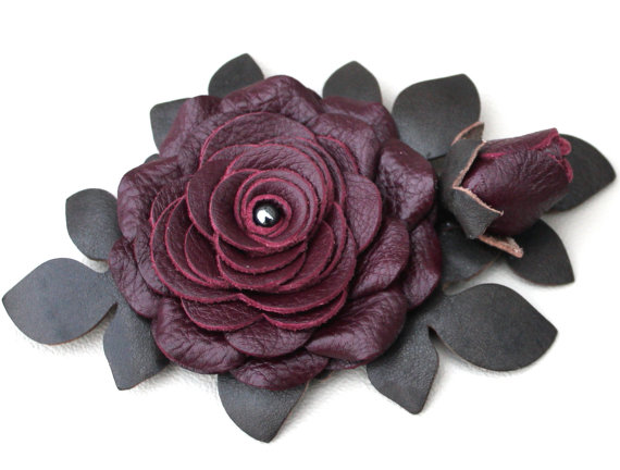 Mariage - Burgundy leather flower hair clip leather rose green leaves woodland wedding corsage decoration woodland wedding prom wearable art